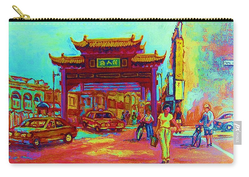Montreal Carry-all Pouch featuring the painting Entrance To Chinatown by Carole Spandau