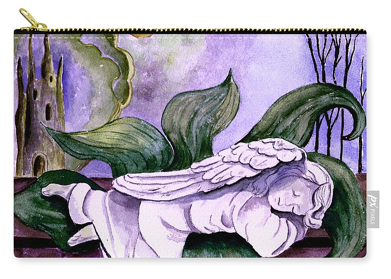 Watercolor Fantasy Angel Sleeping Castle Trees Sun Moon Scenic Scenery Carry-all Pouch featuring the painting Envisage by Brenda Owen
