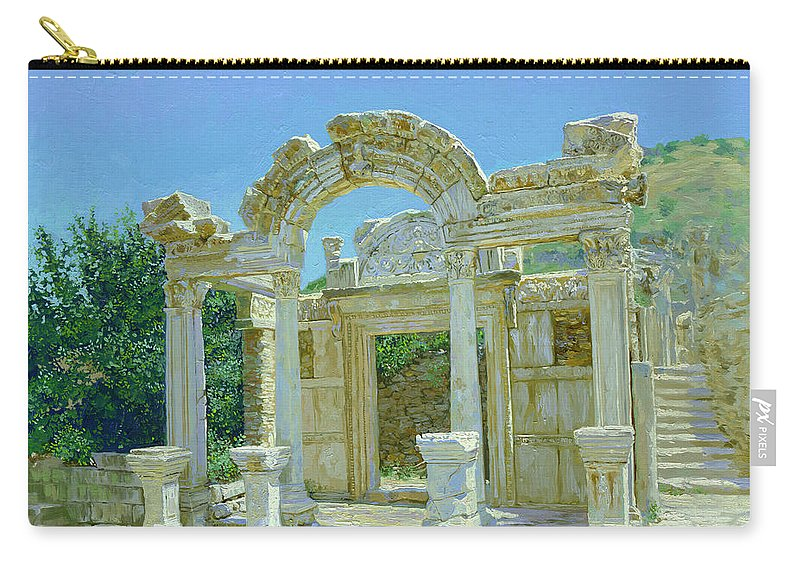Ephesus Carry-all Pouch featuring the painting Ephesus.ruins by Simon Kozhin