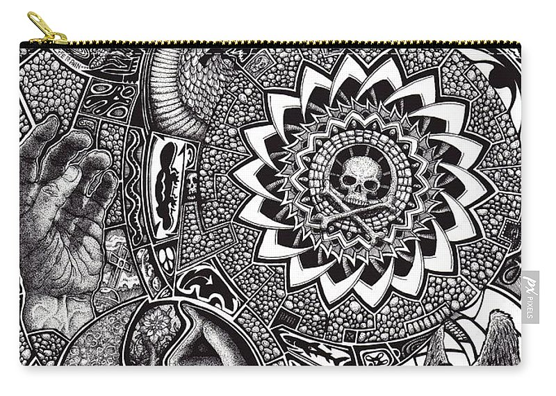 Black And White Carry-all Pouch featuring the drawing Epiphany by Tobey Anderson