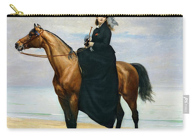 Equestrian Carry-all Pouch featuring the painting Equestrian Portrait Of Mademoiselle Croizette by Charles Emile Auguste Carolus Duran