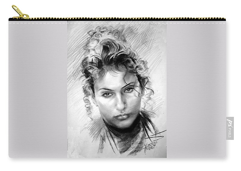 Portrait Carry-all Pouch featuring the drawing Erbora by Ylli Haruni