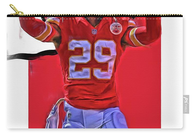 Eric Berry Carry-all Pouch featuring the mixed media Eric Berry Kansas City Chiefs Oil Art by Joe Hamilton