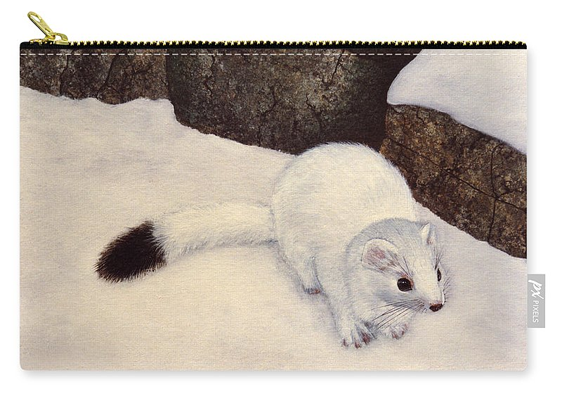 Wildlife Carry-all Pouch featuring the painting Ermine In Winter by Frank Wilson