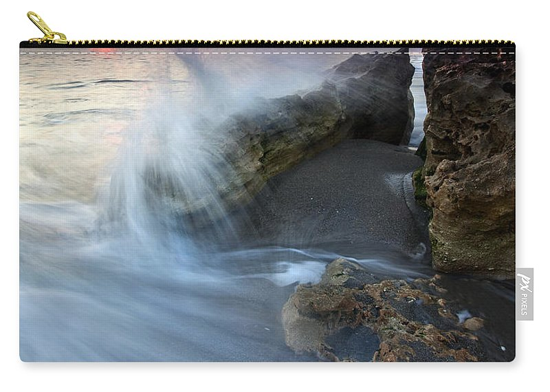 Blowing Rocks Carry-all Pouch featuring the photograph Eruption At Dawn by Mike Dawson