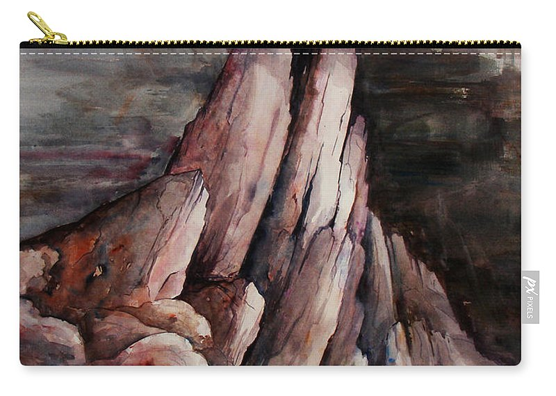 Landscape Carry-all Pouch featuring the painting Eruption by Rachel Christine Nowicki