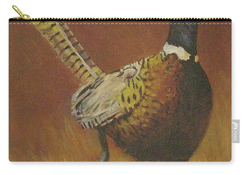 Pheasants Carry-all Pouch featuring the painting Escape by Mia DeLode