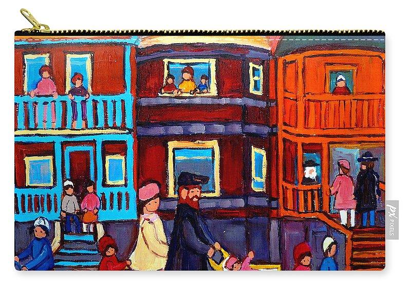 Esplanade Street Carry-all Pouch featuring the painting Esplanade Street Sabbath Walk by Carole Spandau
