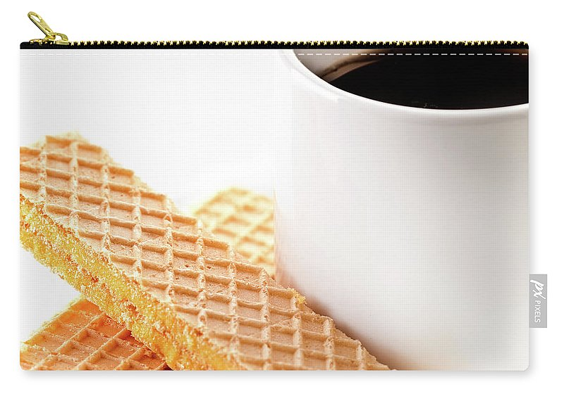 Espresso Coffee Carry-all Pouch featuring the photograph Espresso And Lemon Wafer by Onyonet Photo Studios