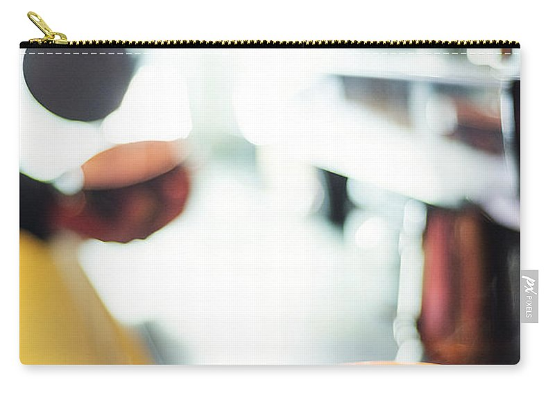 Cafe Carry-all Pouch featuring the photograph Espresso Expresso Italian Coffee Cup With Machine by Jacek Malipan