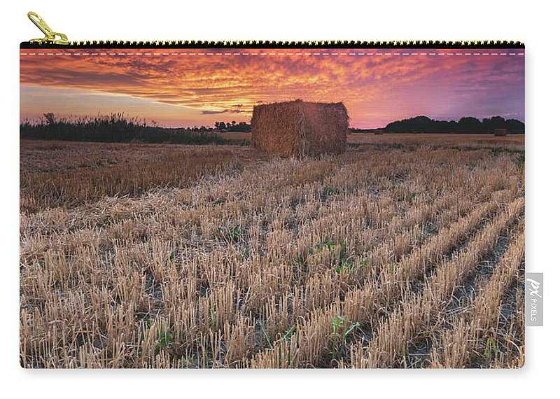 Sunrise Carry-all Pouch featuring the photograph Essex Hay At Sunrise by Cale Best