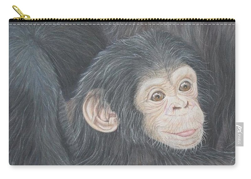 Monkeys Carry-all Pouch featuring the drawing Eternal Bond by Kathleen Smith