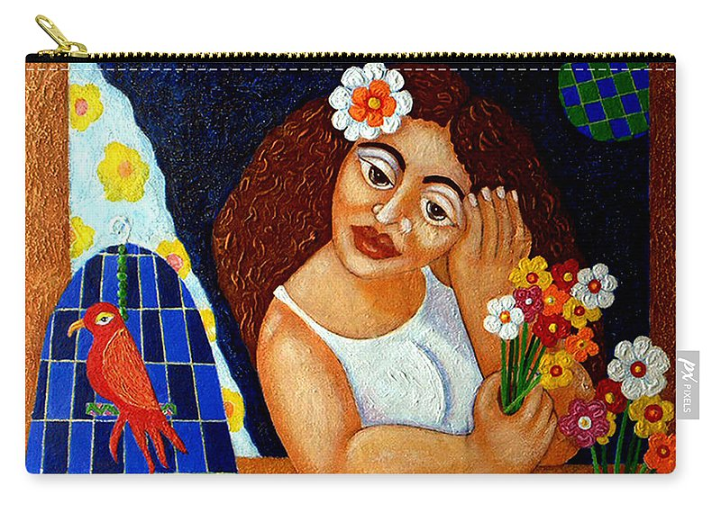 Eve Carry-all Pouch featuring the painting Eternal Eve - II by Madalena Lobao-Tello