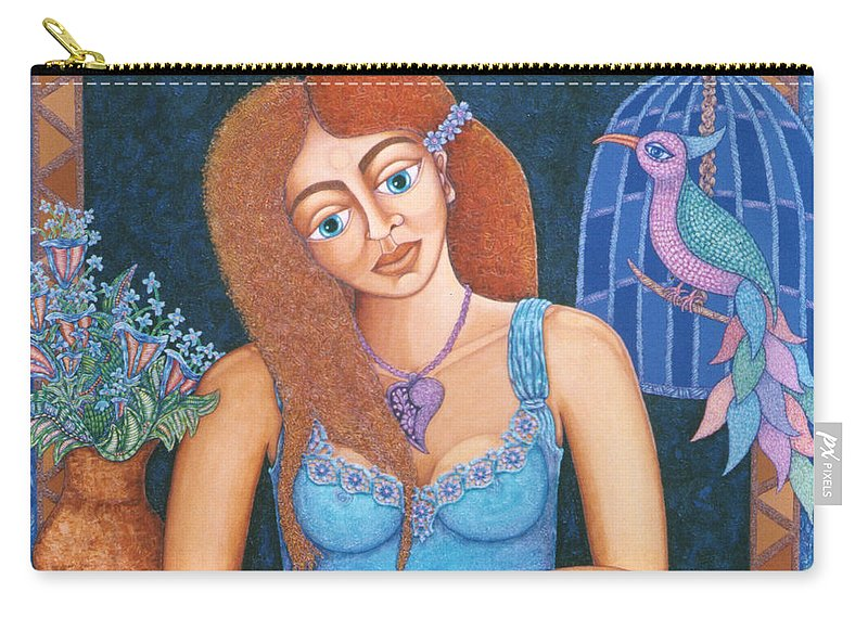 Eve Carry-all Pouch featuring the painting Eternal Eve by Madalena Lobao-Tello