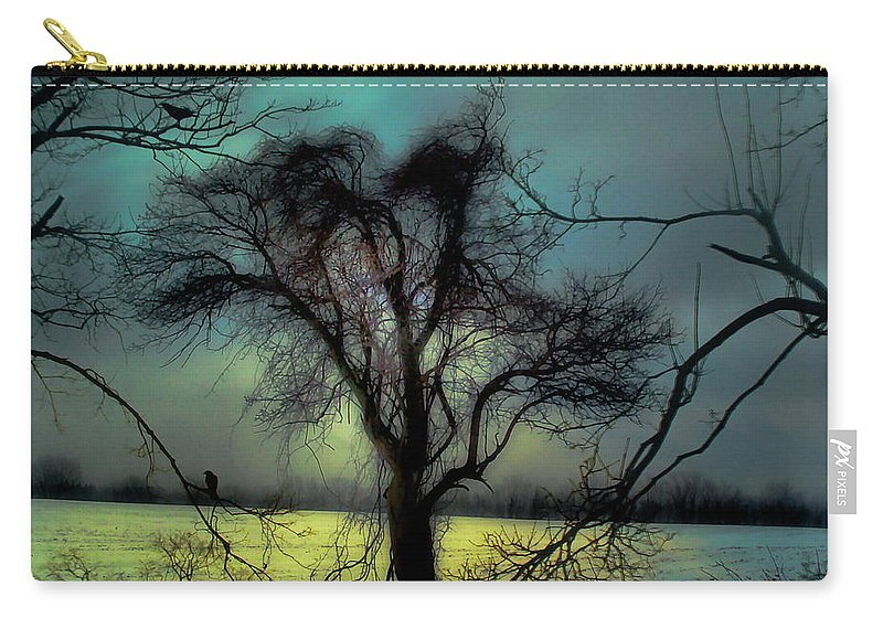 Blue Carry-all Pouch featuring the photograph Ethereal Trees by Gothicrow Images
