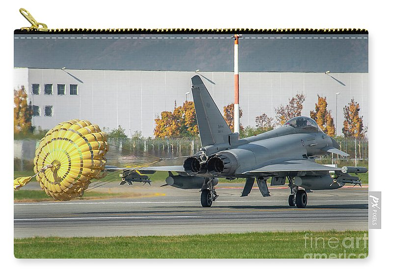 Force Carry-all Pouch featuring the photograph Eurofighter Typhoon 2000 With Parachute by Roberto Chiartano