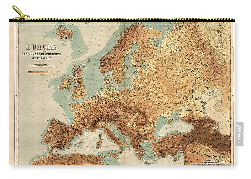 Europe Geological Map Showing Land And Water Resources