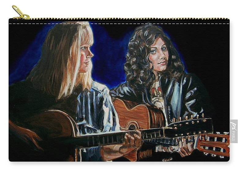 Katie Melua Carry-all Pouch featuring the painting Eva Cassidy And Katie Melua by Bryan Bustard