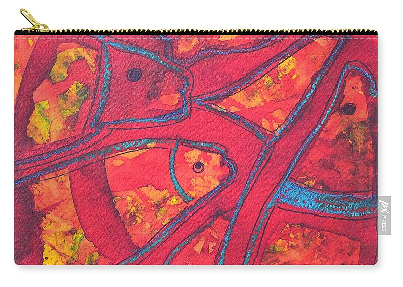 Red Carry-all Pouch featuring the painting Even Fishes Love Red by Ana Maria Edulescu