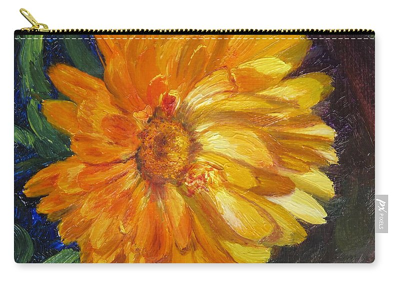 Flower Painting Carry-all Pouch featuring the painting Even the Flowers in Autumn Are Golden by Lea Novak