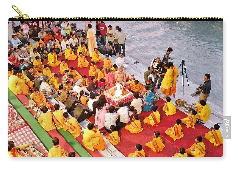 Aarti Carry-all Pouch featuring the photograph Evening Aarti - Rishikesh India by Kim Bemis