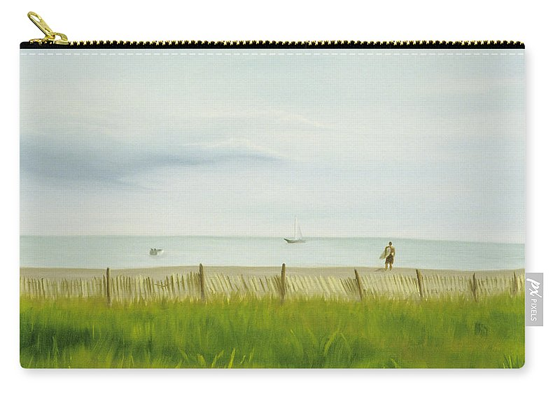 Seascape Carry-all Pouch featuring the painting Evening At Cape May by Lea Novak