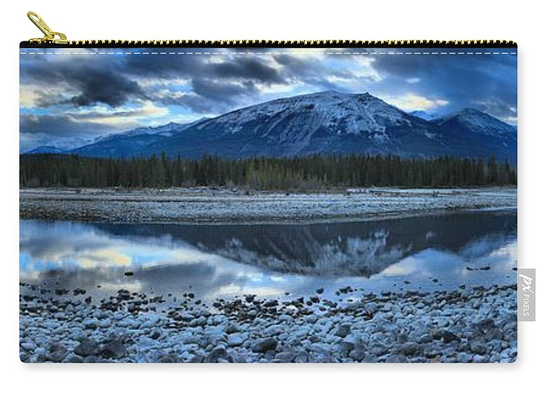 Athabasca River Carry-all Pouch featuring the photograph Evening At The Athabasca River by Adam Jewell