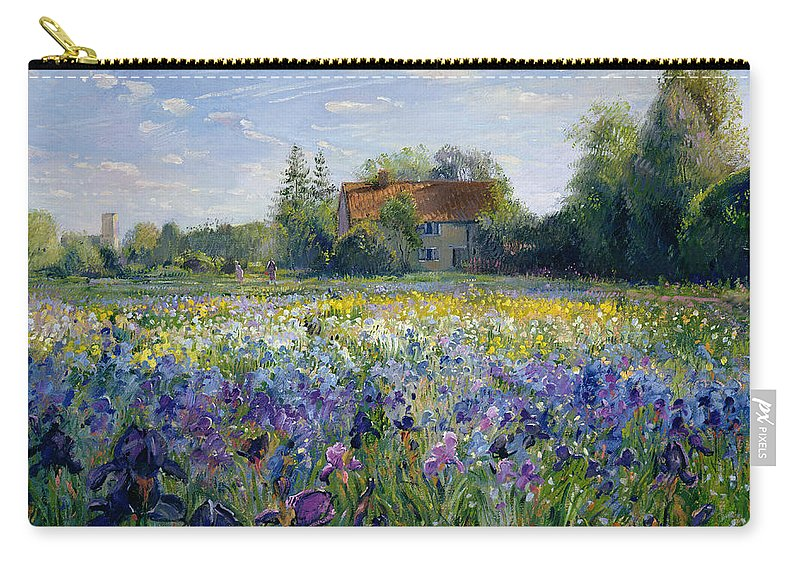 Landscape; Market Gardening; Flowers; Horticulture;cottage; Summer; Rural; Irises; Landscapes Carry-all Pouch featuring the painting Evening At The Iris Field by Timothy Easton