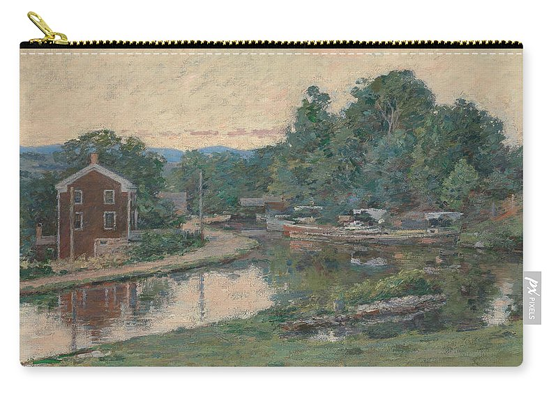 Theodore Robinson Carry-all Pouch featuring the painting Evening At The Lock, Napanoch, New York by Theodore Robinson