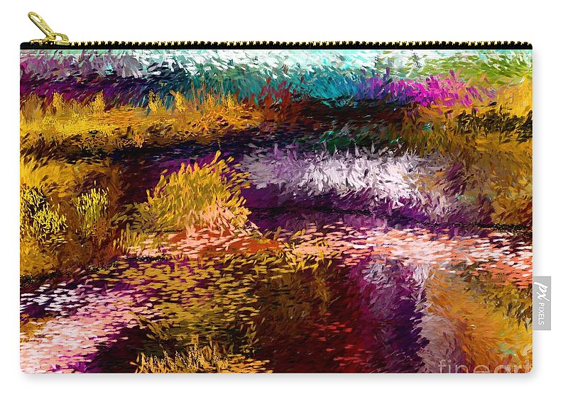 Abstract Carry-all Pouch featuring the digital art Evening At The Pond by David Lane