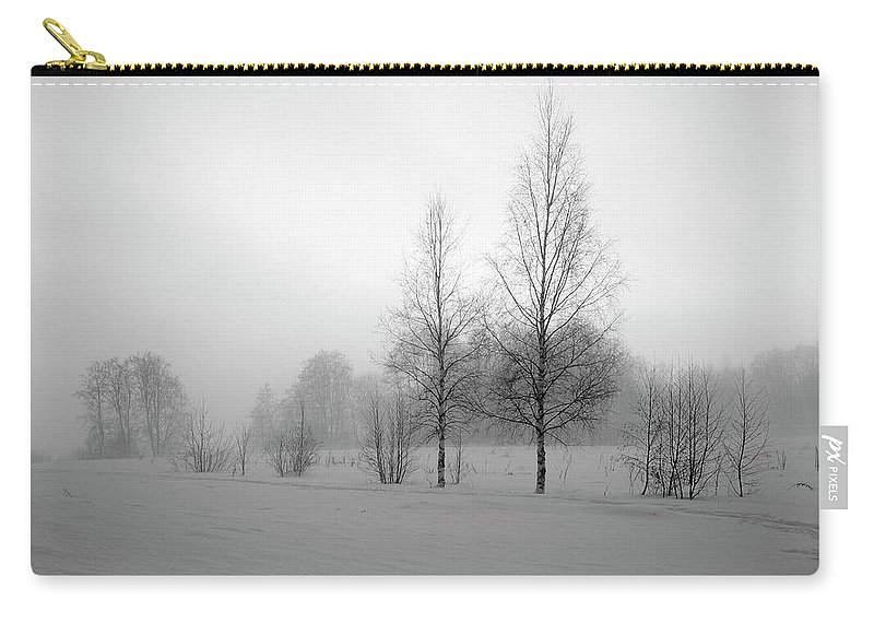 Lehtokukka Carry-all Pouch featuring the photograph Evening Birches Bw by Jouko Lehto