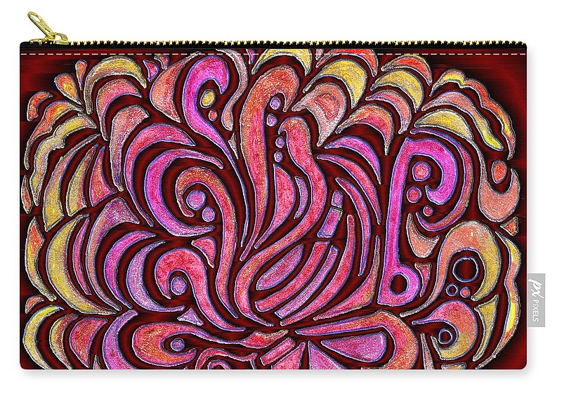 Digital Carry-all Pouch featuring the drawing Evening Bonfire by Mark Sellers