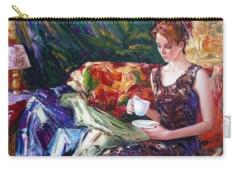 Figurative Carry-all Pouch featuring the painting Evening Coffee by Sergey Ignatenko