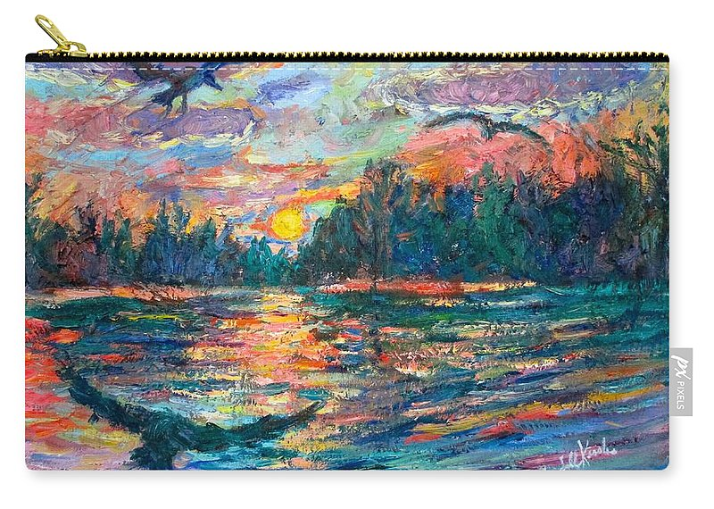 Landscape Carry-all Pouch featuring the painting Evening Flight by Kendall Kessler