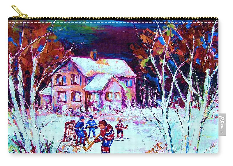 Hockey Game In The Country Carry-all Pouch featuring the painting Evening Game At The Chalet by Carole Spandau