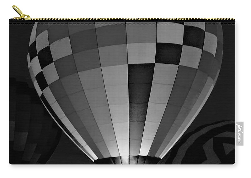 Balloons Carry-all Pouch featuring the photograph Evening Glow Bw by Charles HALL