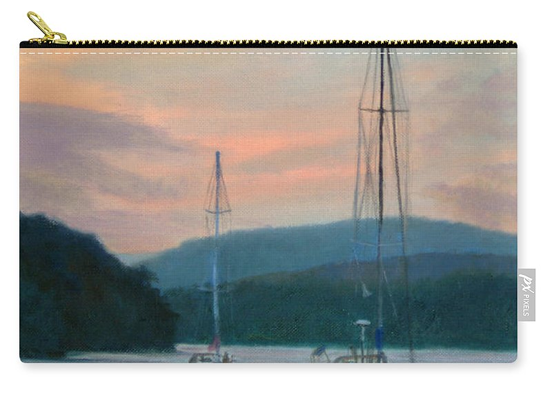 Landscape Carry-all Pouch featuring the painting Evening Glow Hudson River by Phyllis Tarlow