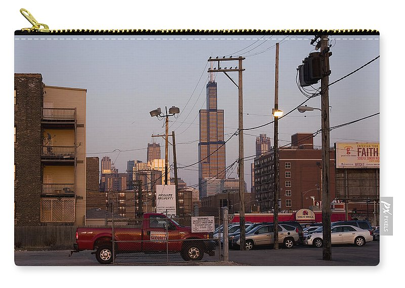 Chicago Car Windy City Tower Urban Tall High Building Skyscraper Carry-all Pouch featuring the photograph Evening In Chicago by Andrei Shliakhau