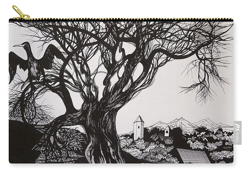 Pen And Ink Carry-all Pouch featuring the drawing Evening In Midnapore by Anna Duyunova
