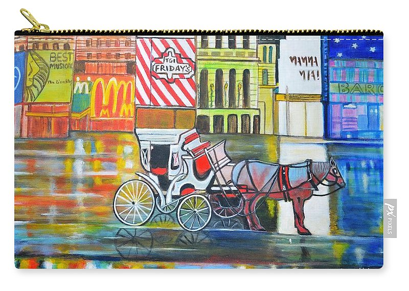 Landscape Horse New York City Usa Carriage Mcdonald Tgi Friday Lion King Mama Mia Red Yellow Orange Blue Purple Wheels Buildings Cityscape Carry-all Pouch featuring the painting Evening In New York by Manjiri Kanvinde