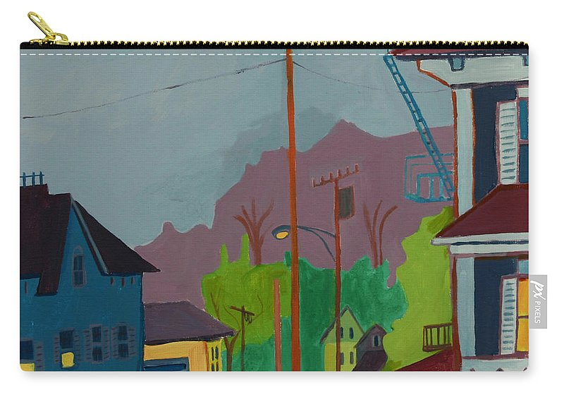 Town Carry-all Pouch featuring the painting Evening in Town Chelmsford MA by Debra Bretton Robinson