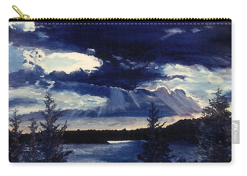 Landscape Carry-all Pouch featuring the painting Evening Lake by Steve Karol