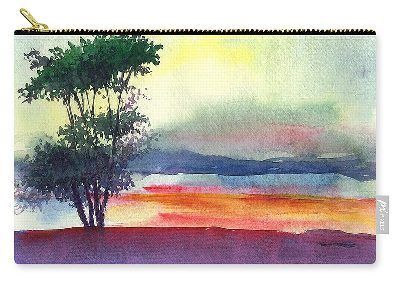Water Color Carry-all Pouch featuring the painting Evening Lights by Anil Nene