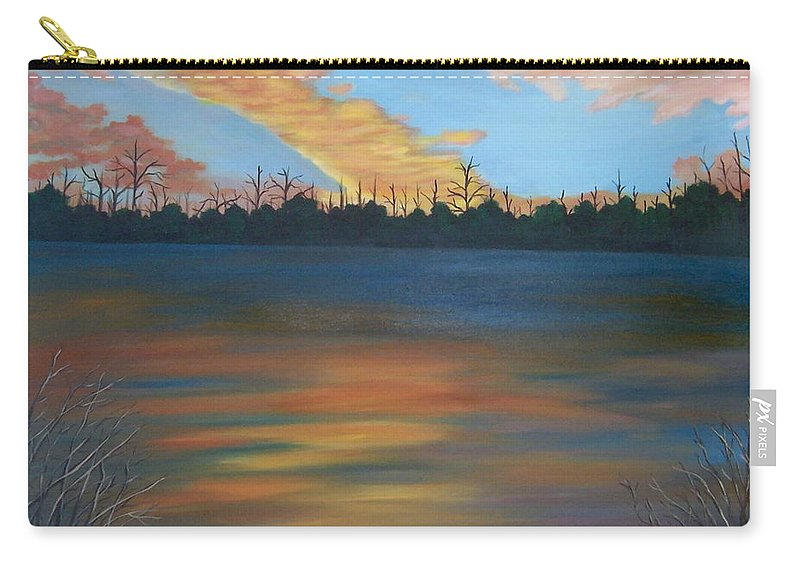 Landscape Carry-all Pouch featuring the painting Evening Peace by Ruth Housley