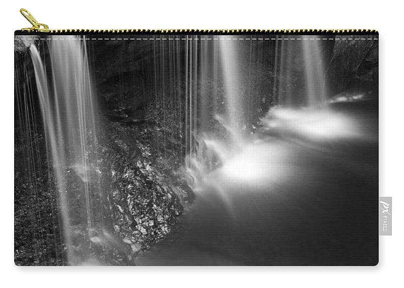 Canyon Carry-all Pouch featuring the photograph Evening Plunge Waterfall Black And White by John Stephens