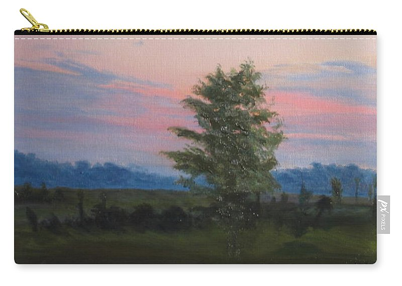 Landscape Carry-all Pouch featuring the painting Evening Sky by Lea Novak