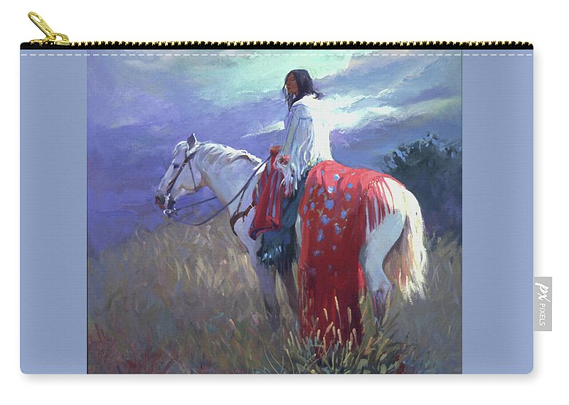 Native American Carry-all Pouch featuring the digital art Evening Solitude L. E. P. by Betty Jean Billups