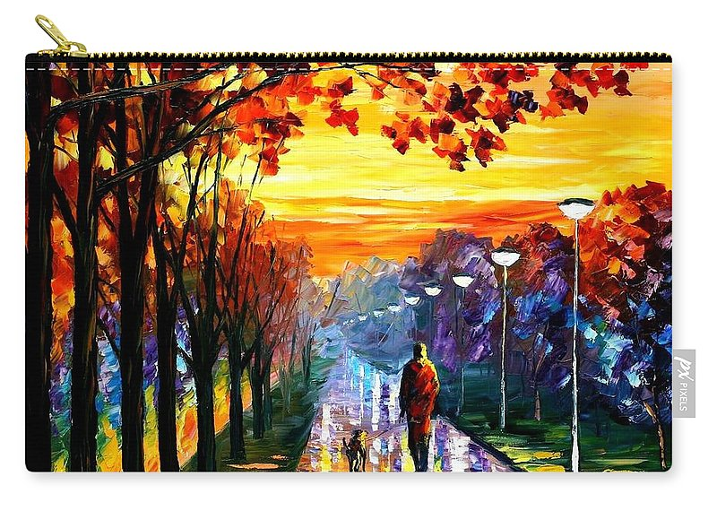 Afremov Carry-all Pouch featuring the painting Evening Stroll by Leonid Afremov