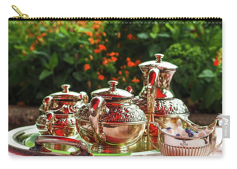 Tea Carry-all Pouch featuring the photograph Event - Tea Garden Party Silver Sevice by Arthur Babiarz