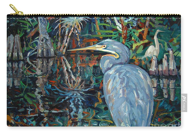 Blue Herron Carry-all Pouch featuring the painting Everglades by Donald Maier